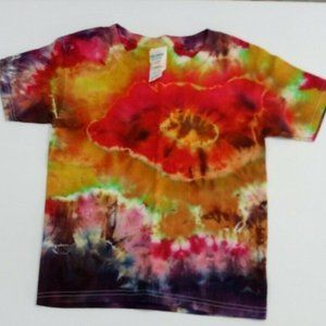 Hand Dyed Tie Dye Tee Shirt Kids 4T Orange Purple